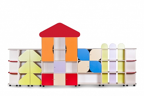 """TEREMOK"" (SMALL WOODEN HOUSE) Modular Toy Storage Unit (3810*420*1840)"